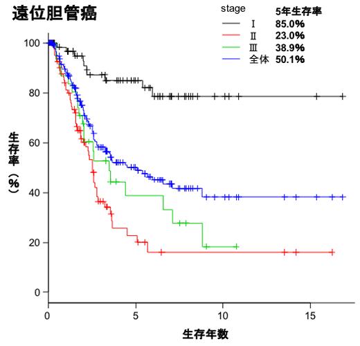 遠位胆管癌生存曲線